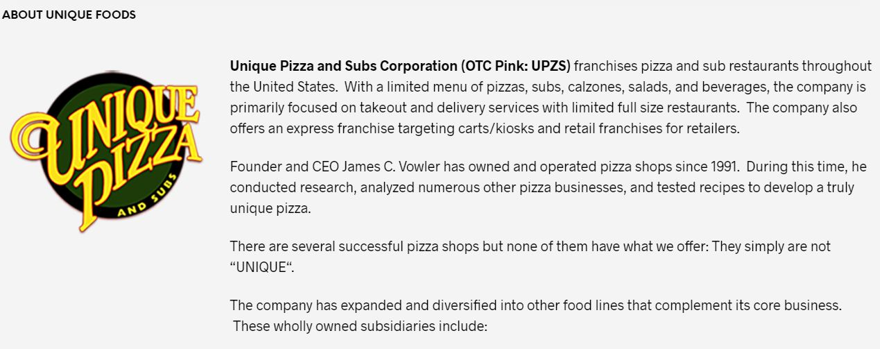 Unique Foods Corporation (UPZS) Stock Message Board - InvestorsHub